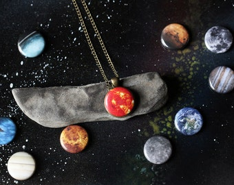 Interchangeable Galaxy Solar System Space Planet Necklace - Magnetic Jewelry, Long Necklace - Cosmic Pendant, Bridesmaid Gift