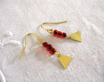 Earrings - Brass Triangles