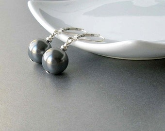 Grey Pearl Earrings, Sterling Silver Pearl Drop Earrings, Large Pearl Earrings, Gray Pearl Jewelry, Modern Jewelry, Bridesmaid Gift