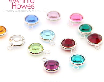 60 Swarovski Birthstone Charms. Rhodium Plated formerly Silver Plated. 6mm. Choose your colors. 1128 SS29.
