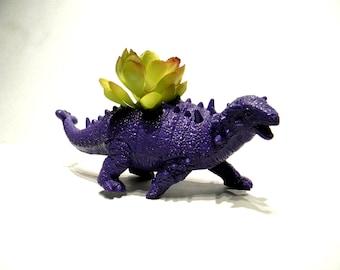 Jurassic Purple Dinosaur Planter for Succulent Plants Fun Office Decor