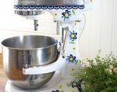 Vintage Blue Flowers Kitchenaid Decal