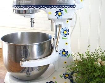 Vintage Blue Flowers Kitchenaid Decal
