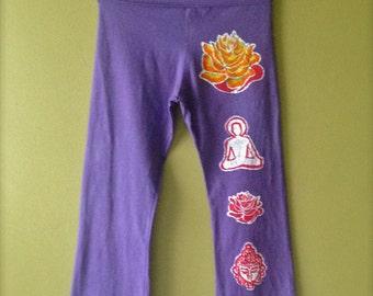 Lotus Batik Yoga pants Hand painted & hand dyed women purple - Yoga clothes - size XS, S, M, L, XL