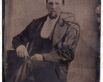 Rare Full Plate Tintype of an Earlier Tintype - Hand Tinted Portrait of a Gentleman Seated in a Wicker Chair 1870s 1880s
