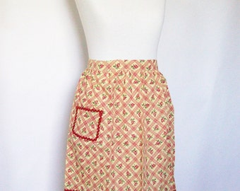Kitchen Half Apron Yellow & Red Dotted Swiss Cotton Vintage Linens