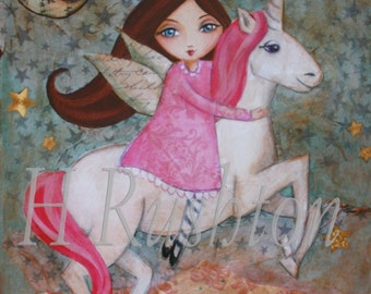 Unicorn Wall Art - Unicorn Room Decor- Children's Art -Unicorn - Mixed Media Art - Print Sizes 8 x 10 and 5x7 by HRushton