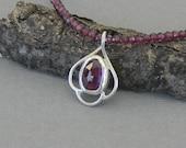 Garnet Necklace, Metalwork Garnet Necklace, Rose Cut Garnet pendant, Hand Forged Metalwork Pendant, January Birtthstone
