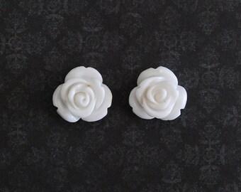 White Rose Flower Girly Plugs - 4g, 2g, 0g, 00g