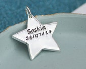 Personalised Silver Star Shaped Charm, Name Charm,keepsake, Personalised Charm for mummy,mommy necklace, new baby, christening gift