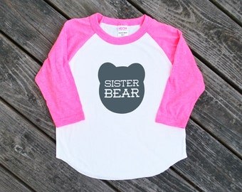 Sister Bear Toddler Kids Neon Heather Pink Sleeve Baseball TShirt with Grey Print
