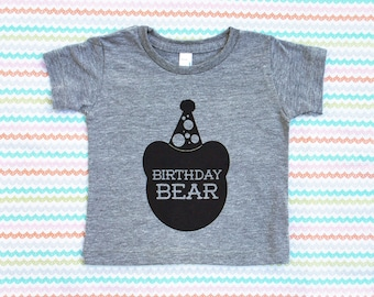 Birthday Bear TriBlend Heather Grey TShirt with Black Print - Infant and Toddler sizes