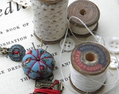 Sewing Necklace with a Tiny Pincushion and Thread Winder, Blue and Red
