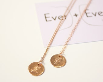 Initial Necklace - 14k Rose Gold-Fill - Hand-Stamped
