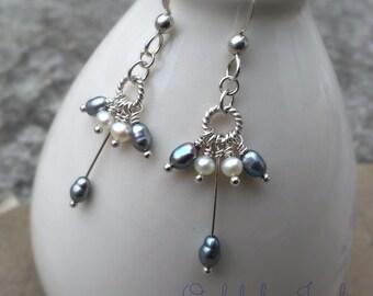 Steel Blue Freshwater Pearl Cluster Earrings Long Pearl Dangles Sterling Silver Pearl Earrings