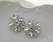Wedding Earrings, crystal post earring, Bridal Jewelry, Crystal silver, Large earrings, flower earrings, clear crystal, Crystal Bouquet