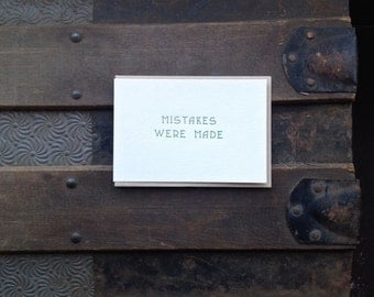 mistakes were made letterpress card
