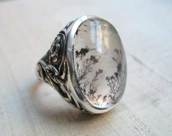 Dendritic Quartz and Sterling Silver- Serpentine Leaf Ring