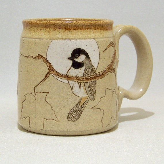 Black Capped Chickadee and Maple Leaves Coffee Mug Limited Series 106 (12 ounce)