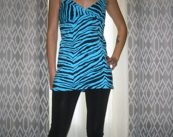 Blue Zebra Babydoll Tunic Small Medium by Vicmes Clothing