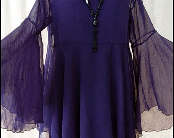 One of a Kind Amethyst Chiffon Shadowen Blouse with Flared Sleeves by Kambriel - Brand New & Ready to Ship!