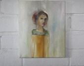 Original Oil Portrait: Girl in a Color Block Dress