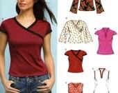 Cheongsam tops pattern Asian style sewing pattern Stretch Knit modern Yoga tops pattern New Look 6405 Sz 8 to 18 UNCUT