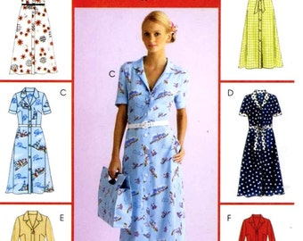 Retro Style dress and sash pattern Modern dress in two lengths McCalls M4769 Classic summer style UNCUT Sz 8 to 14