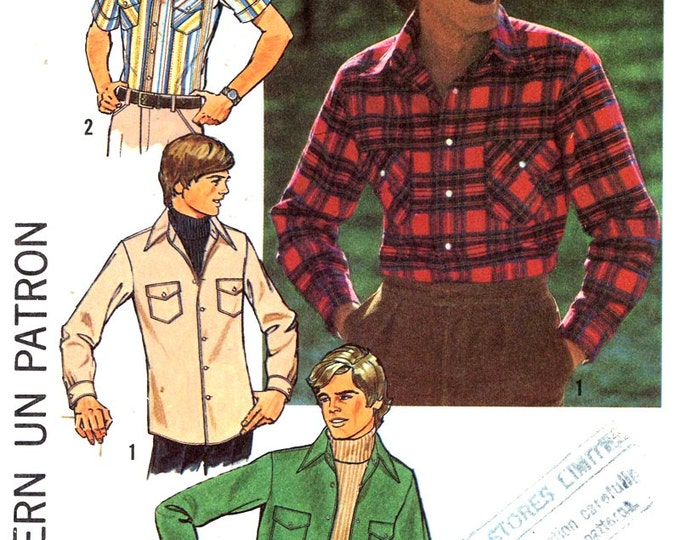 70s Mens shirt vintage sewing pattern Simplicity 7698 top stitched shirt retro cowboy or grunge style  Size 44 UNCUT