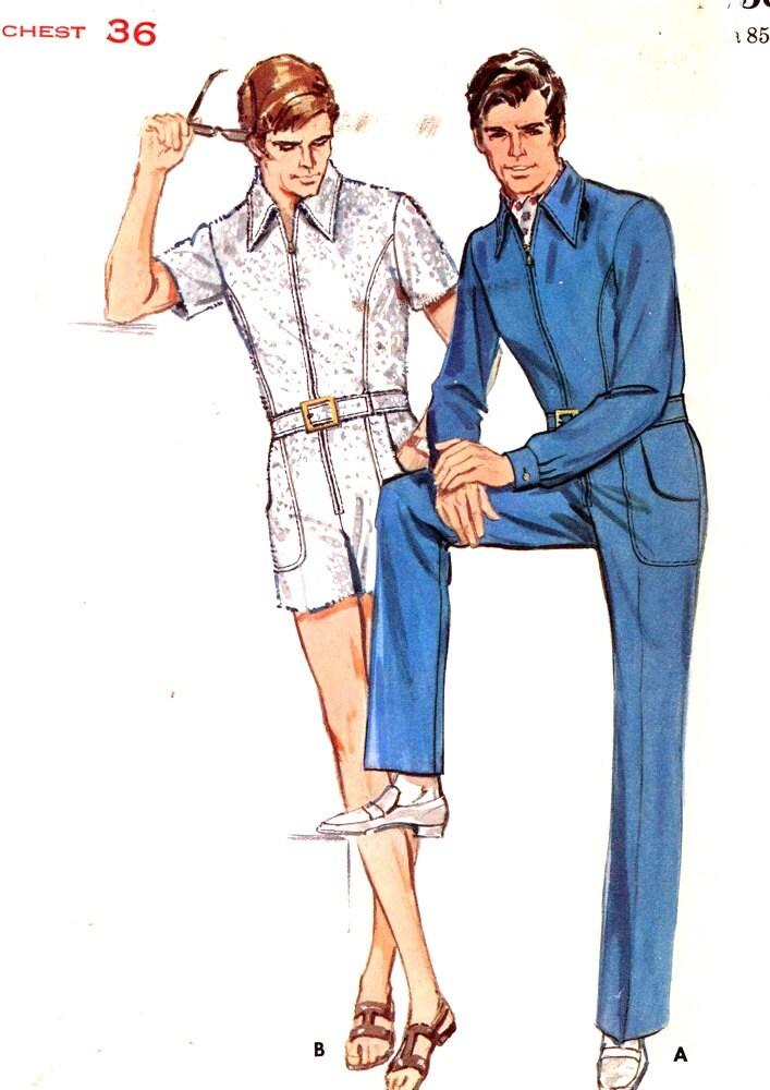 Mens 70s Jumpsuit Vintage Sewing Pattern 70s Disco Butterick