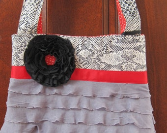 Gray, Black & Red Ruffle Tote