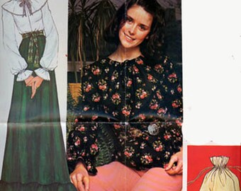 CLEARANCE SALE 1970s Boho Peasant Blouse w/ Seperate Cape Collar and Bag McCalls 4152 Vintage Sewing Pattern Alphabet Transfer Size 16 UNCUT
