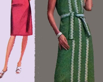 1970s Sleeveless Jiffy Sheath Dress Simplicity 9402 Vintage 70s RETRO Womens Sewing Pattern Size 18 Bust 40 Uncut