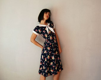 vintage 1980s SAILORETTE floral day dress