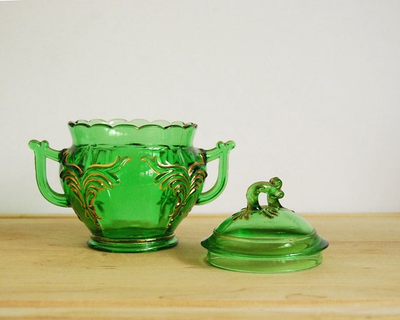 Antique Sugar Bowl with Lid, Heisey Winged Scroll Emerald Green 1900s Victorian Home Decor Pressed Glass Gold Trim Collectibles