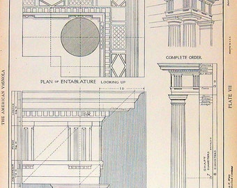 Architectural Drawings - Doric Order Denticulated - 1904 Vintage Book Plate - American Vignola