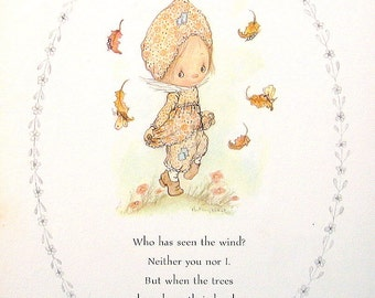 "Betsey Clark Precious Moments - ""Who Has Seen the Wind?"" - 1972 Vintage Book Page"