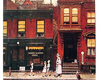 Walking to Church - Large Norman Rockwell Poster Sized Print - 1977 Vintage Book Page - 15 x 12