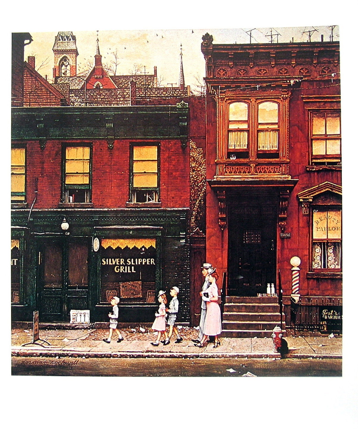 Walking To Church Large Norman Rockwell Poster Sized Print