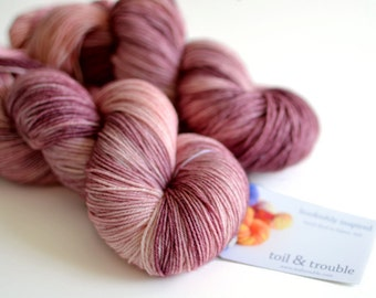 Persephone - Hand Dyed Yarn - Sock Yarn - Merino Wool - Mauve Purple and Pink - Greek Mythology