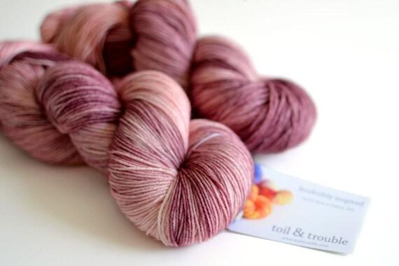 Persephone - Hand Dyed Yarn - Sock Yarn - Merino Wool - Mauve Purple and Pink - Greek Mythology