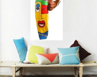 Mrs. Smart... ooak, original painting, acrylics, palm frond, fantasy, abstract, contemporary, face