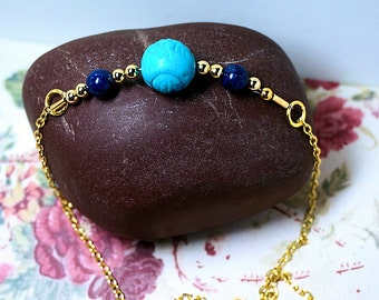 30 inch Necklace, Ladies Long Chain Necklace, Turquoise and Lapis Bead Handmade Jewelry