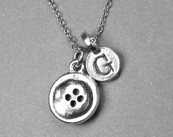 Small Button Charm Necklace silver plated pewter, initial necklace, initial hand stamped, personalized, monogram