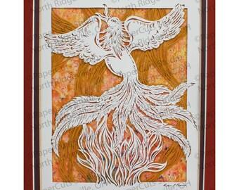 Phoenix Rising Papercutting, Original, Handcut, Watercolor Backer.  Final Edition!