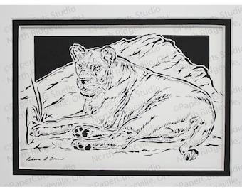 Lioness Papercutting- Handcut Original