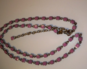 Pink Vintage Necklace Long Thermoset Pink and Silver Squares with Silver Chain