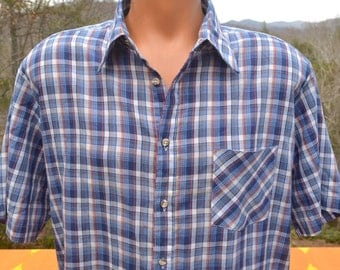 70s vintage plaid shirt SOFT navy blue white short sleeve button down preppy hipster XL thin