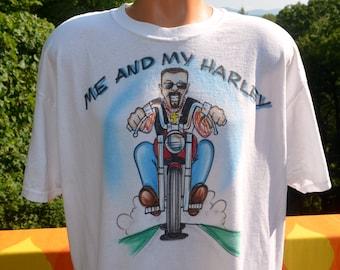 vintage 80s airbrushed t-shirt me & MY HARLEY davidson motorcycles biker tee shirt XL white beard