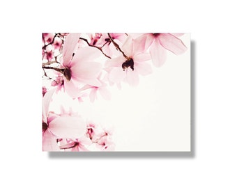 Pink magnolia flower canvas wall art, pale pink, magnolias, flower art, spring wall art, garden flower photography - Sweet Sweet Spring